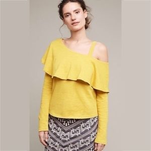 Anthro Postmark One Shoulder Ruffle Top Med Yellow